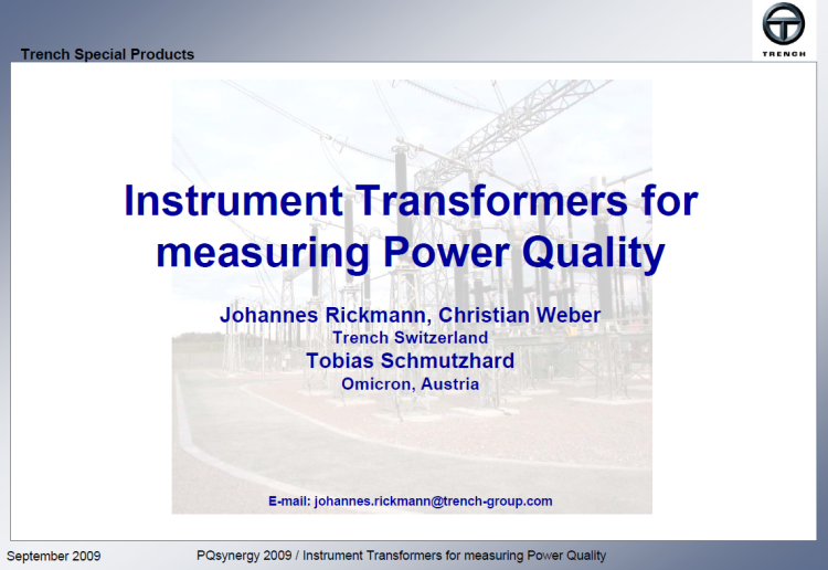 Instrument transformer for measuring power quality_slide1
