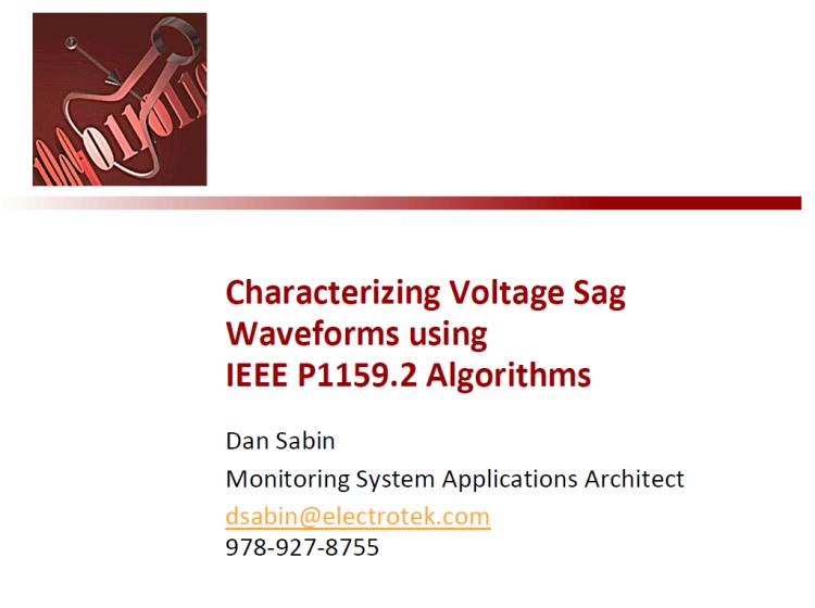 Characterizing Voltage Sag Waveforms using IEEE P1159.2 Algorithms_1