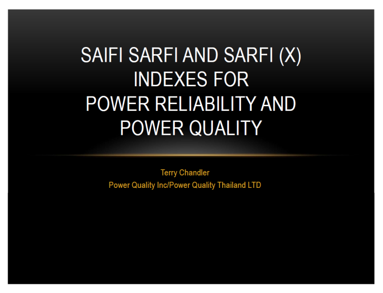 SAIFI SARFI and SARFI (x) Indexes for Power Reliability and Power Quality_1
