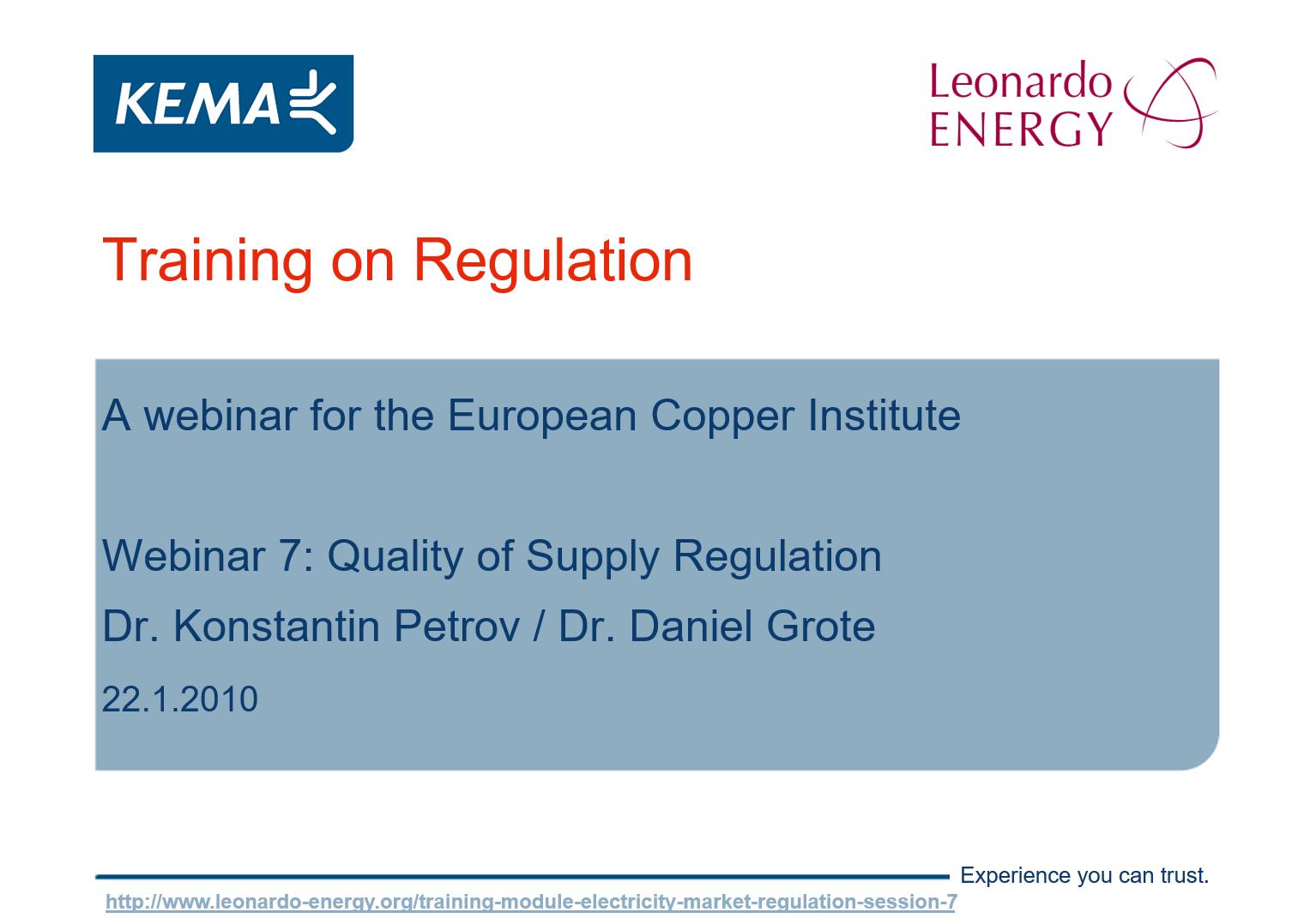 Electricity Markets Regulation Webinar 7 - Quality of Supply Regulation_figure1