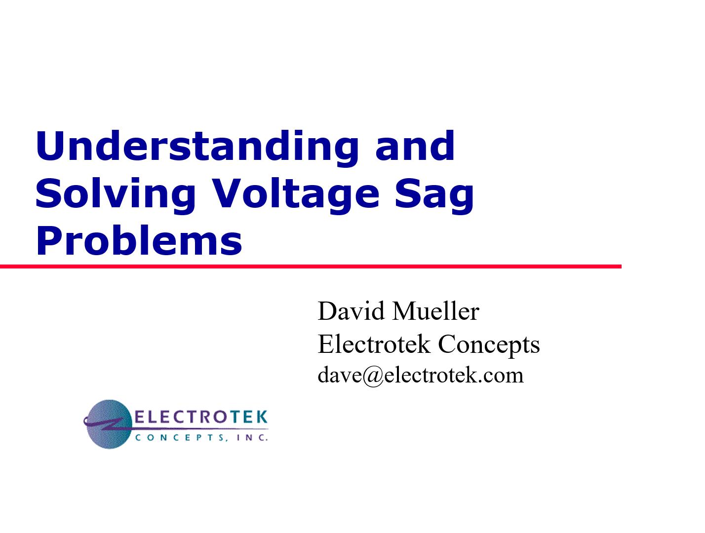 Understanding and Solving Voltage Sag Problems_1